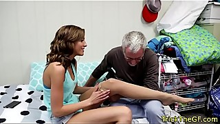 Real amateur gf deepthroating in front of bf