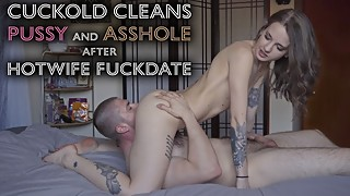 Young Hotwife - Cuckold cleans used Pussy Ass with tongue after fuckdate 4K