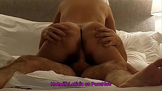 Hotwife training: cuckold MILF cums hard 4 times