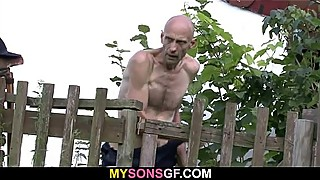 Old man helps his son'_s GF cum