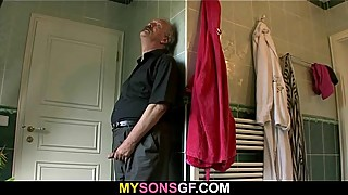 She rides her BF'_s dad cock and gets busted