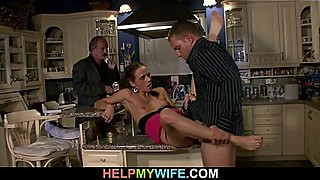 Tight brunette wife cuckolds her older husband