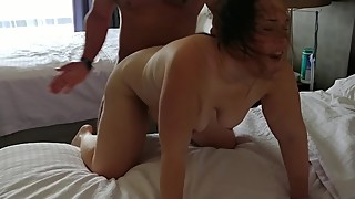 Hotwife fucks hard bull in front of cuckold