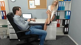 Foot and Cuckold show from hot secretary when her husband watch online
