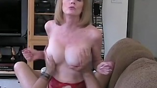 Mom Riding Son'_s Cock On The Couch