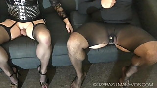 Wife enjoys tranny cock as husband watches