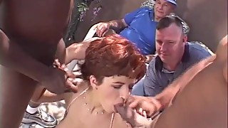 Short Hair Redhead Swinger Threesome