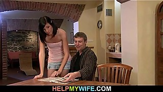 Lovely brunette cuckolds her older husband
