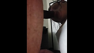 Cuckold wife having a hard time sucking his huge BBC!!