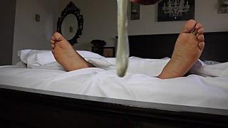 Cuckold's POV: Watch our feet as we fuck, cuck, then drink this condom load