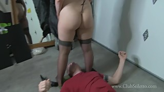 Mistress feeds cum to cuckold after getting fucked by boyfriend