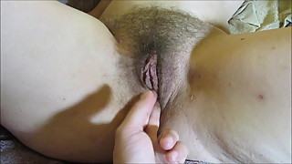 Fingers Inside Beautiful Hairy Pussy Big Bush Lips and Clit